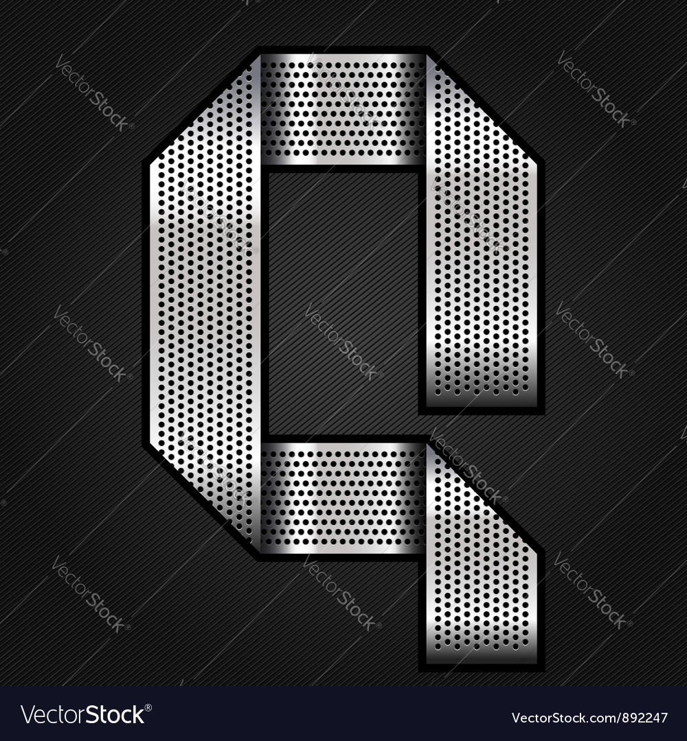 Letter metal chrome ribbon  q vector