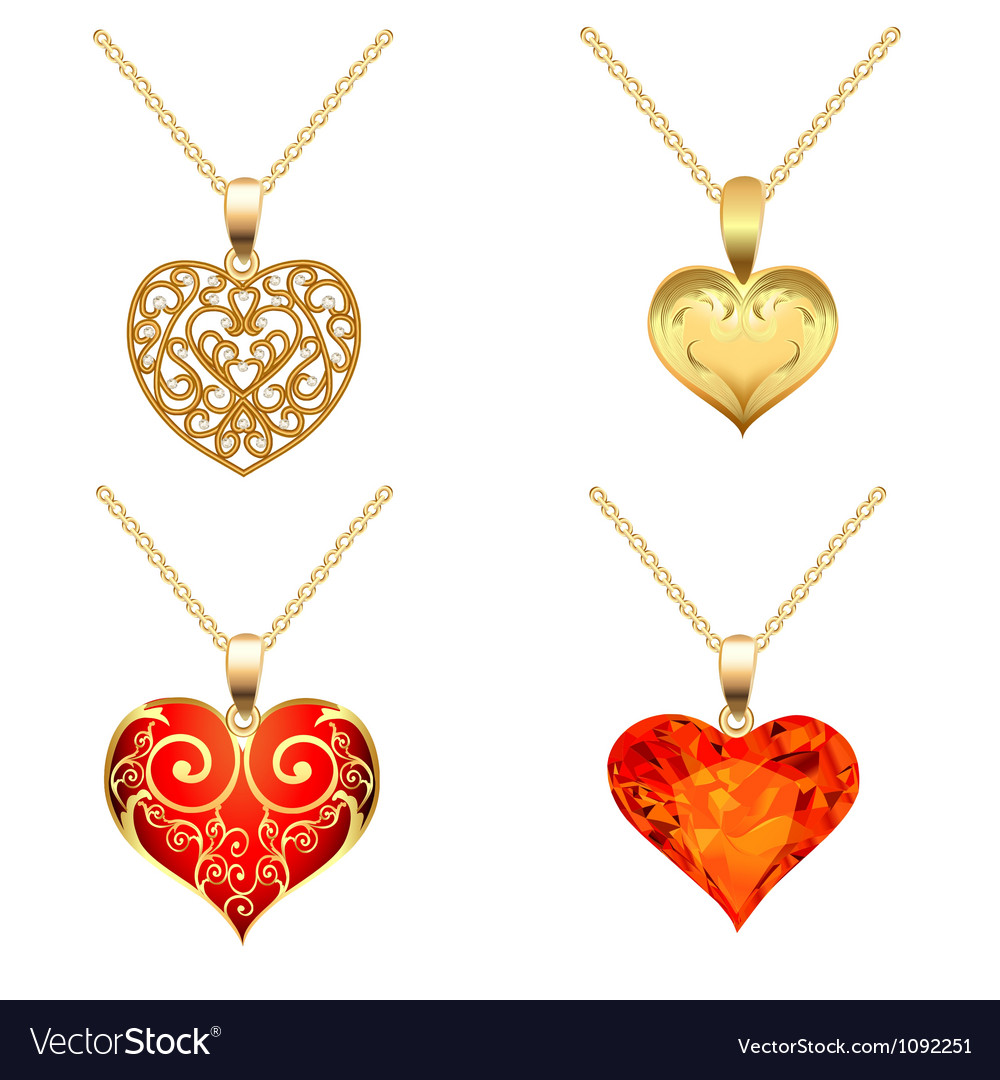 Set of pendants with precious stones vector
