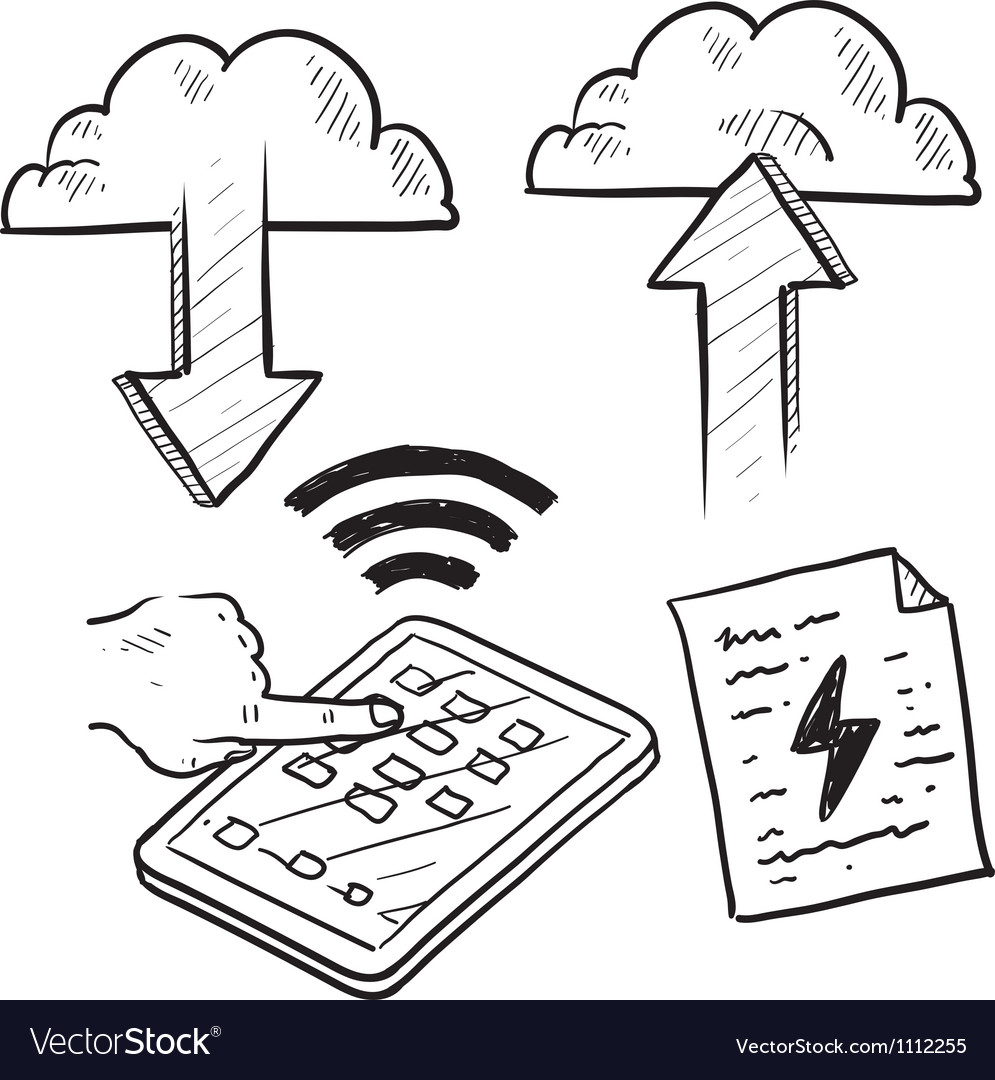 Doodle pad cloud file upload download vector