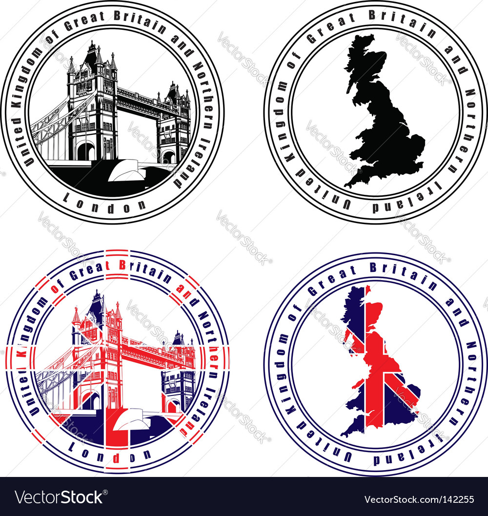 English stamp vector