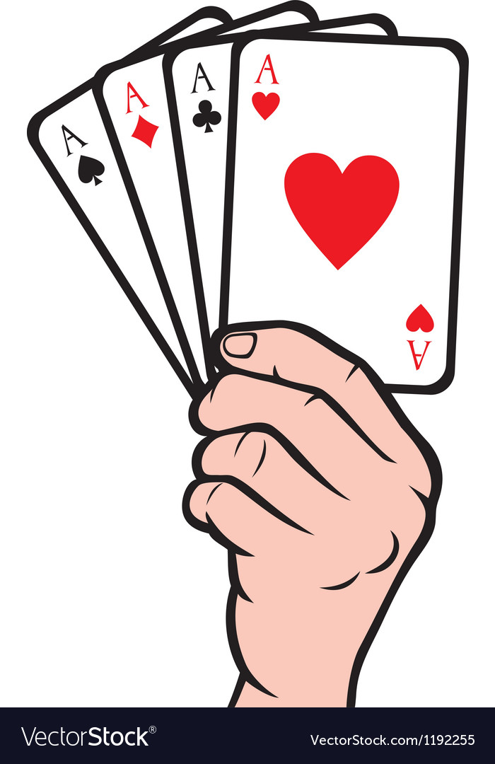 Hand holding playing cardgambling vector