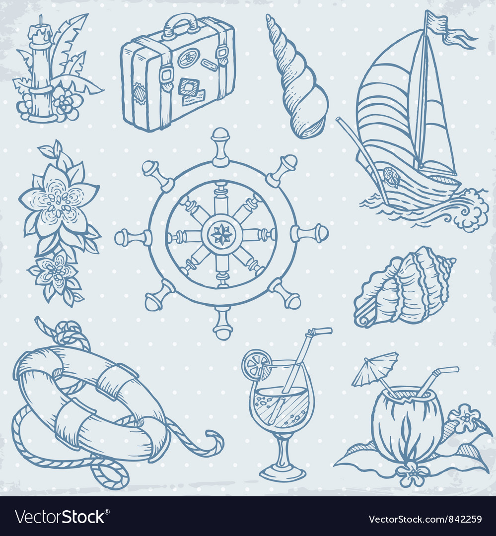 Doodle travel elements vector