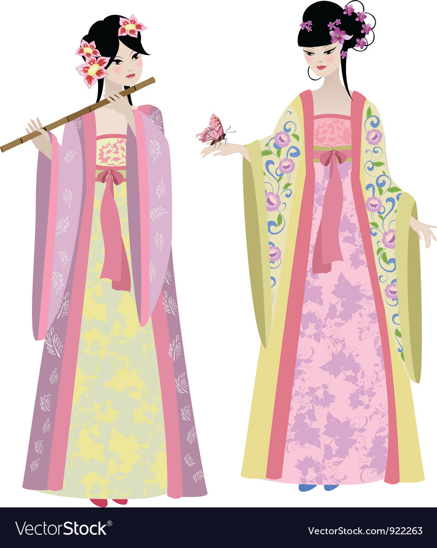 Chinese girls vector