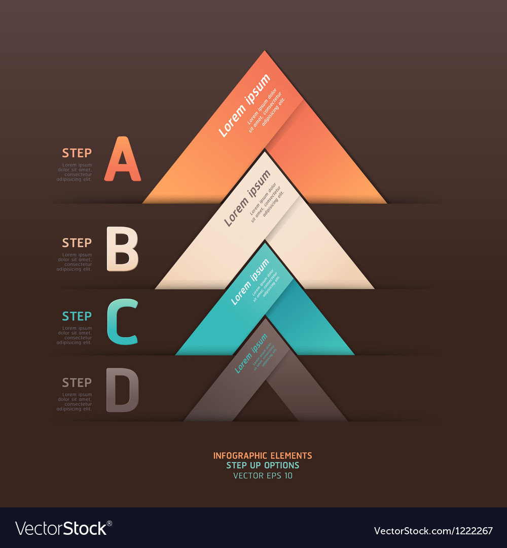 Abstract arrow step options origami style vector