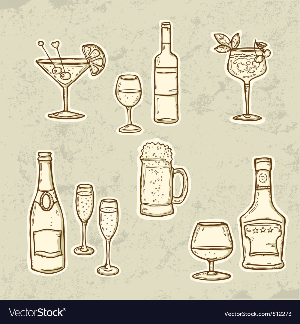 Alkohol drinks set vector