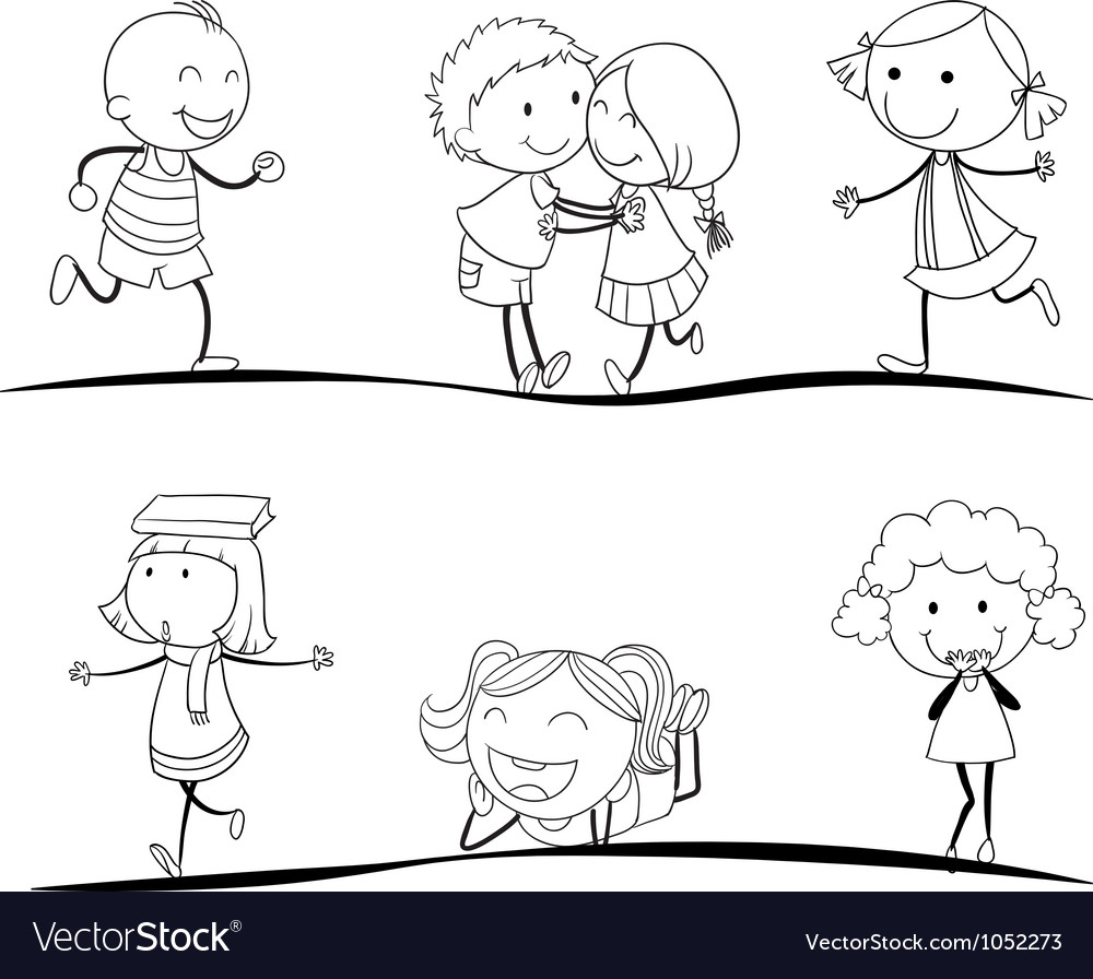 Scetches of kids vector
