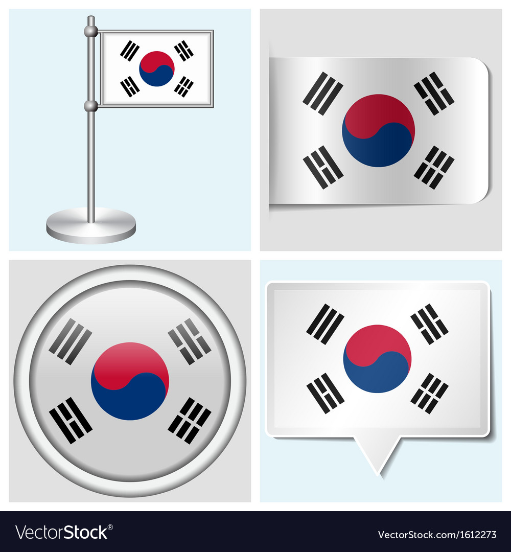 South korea flag  sticker button label vector