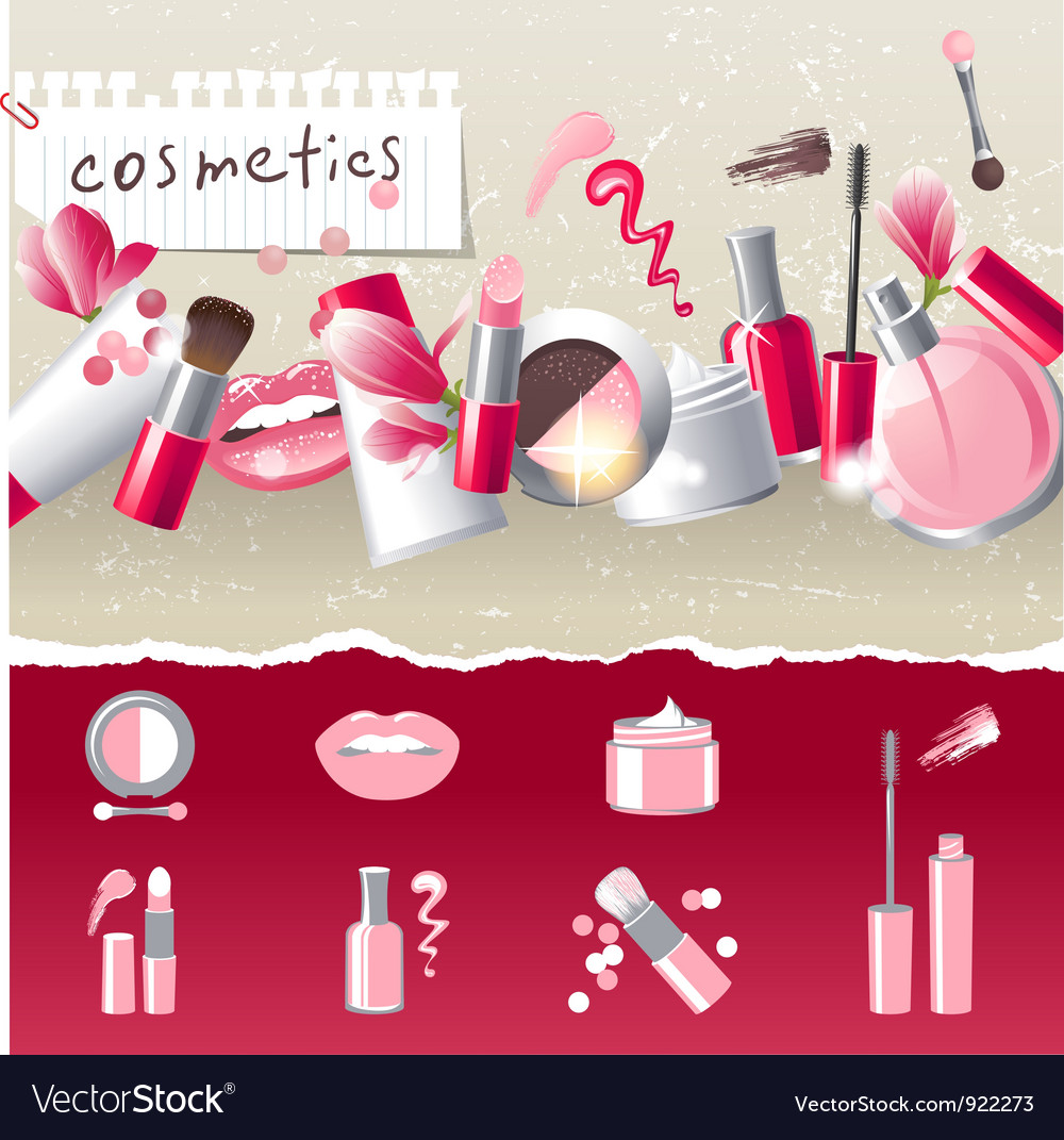 Stylized cosmetics icons vector