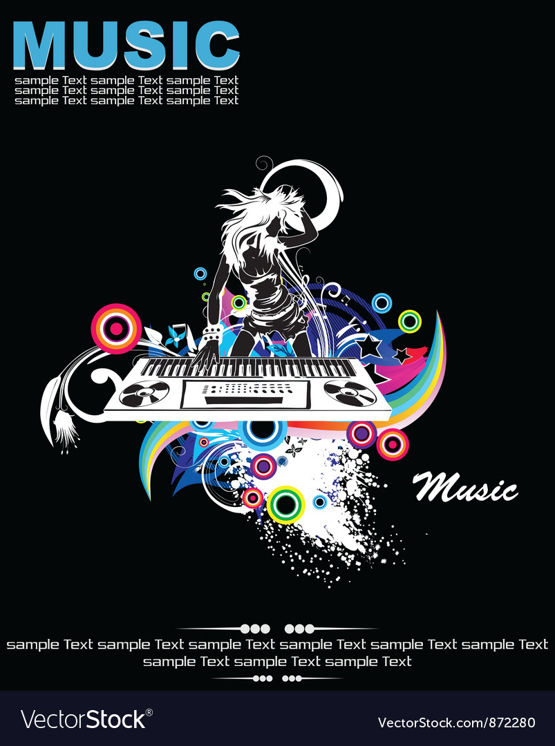Free music background with dj vector