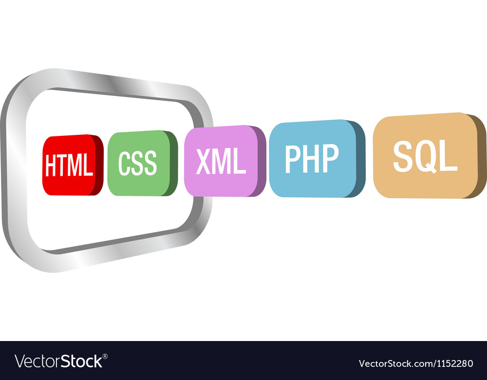 Web dev html css php into computer frame vector