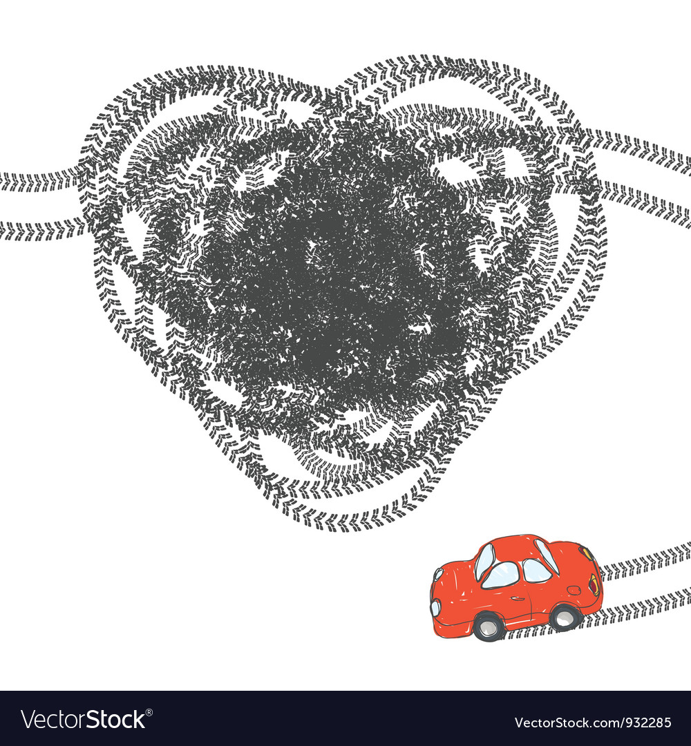 Heart shaped tire trace vector