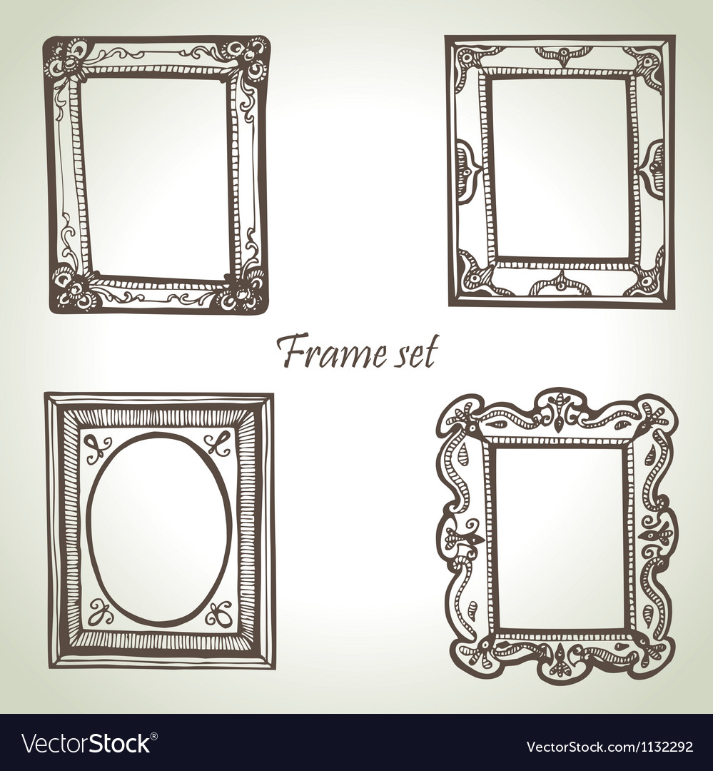 Frame set hand drawn vector