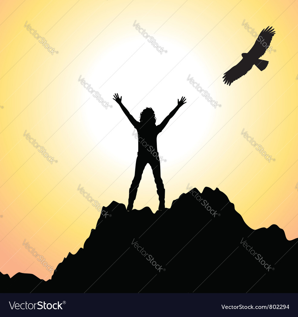 Silhouette of a girl on a mountain vector