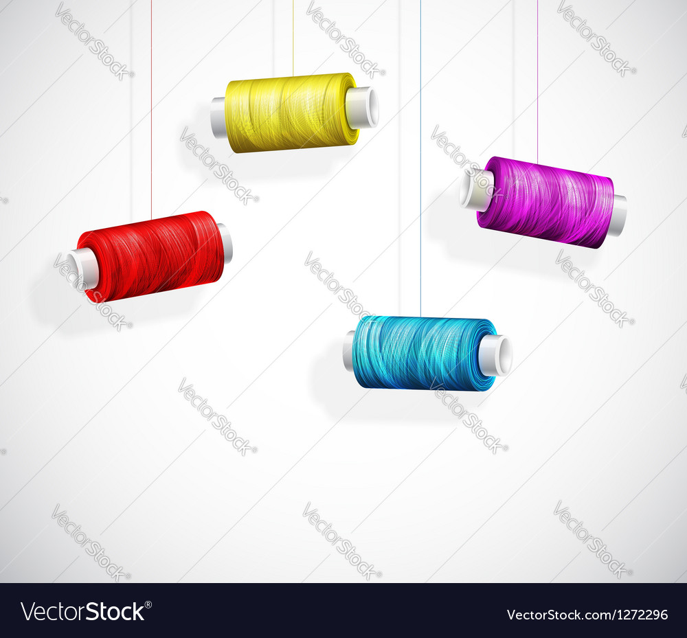 Bobbins of colorful thread vector