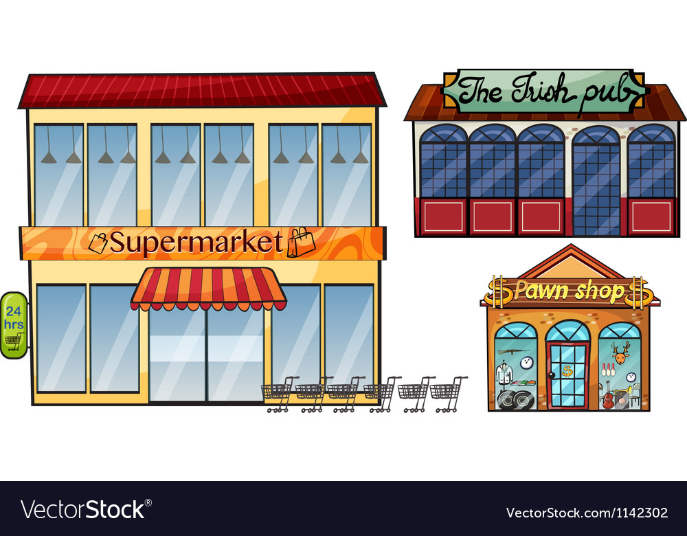 Supermarket pub and pawnshop vector