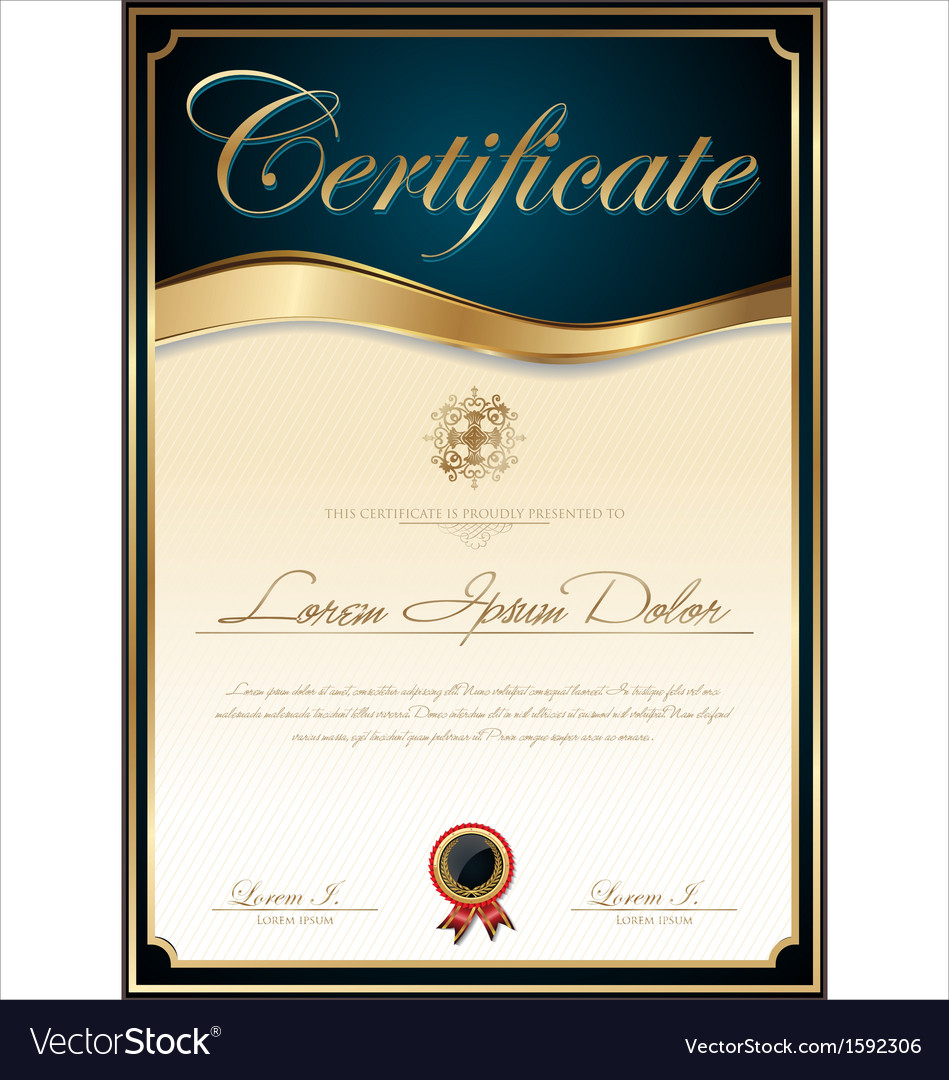 Elegant Blue Certificate Template Vector By Totallyout