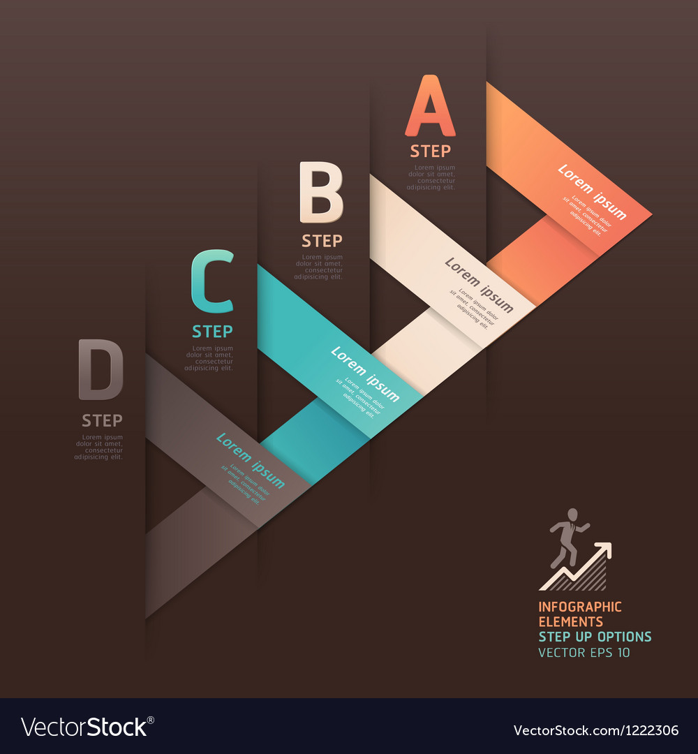 Modern arrow step options origami style vector