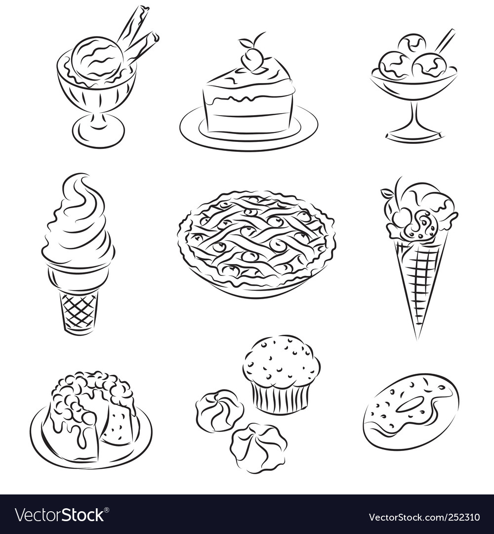 Cakes and icecream vector