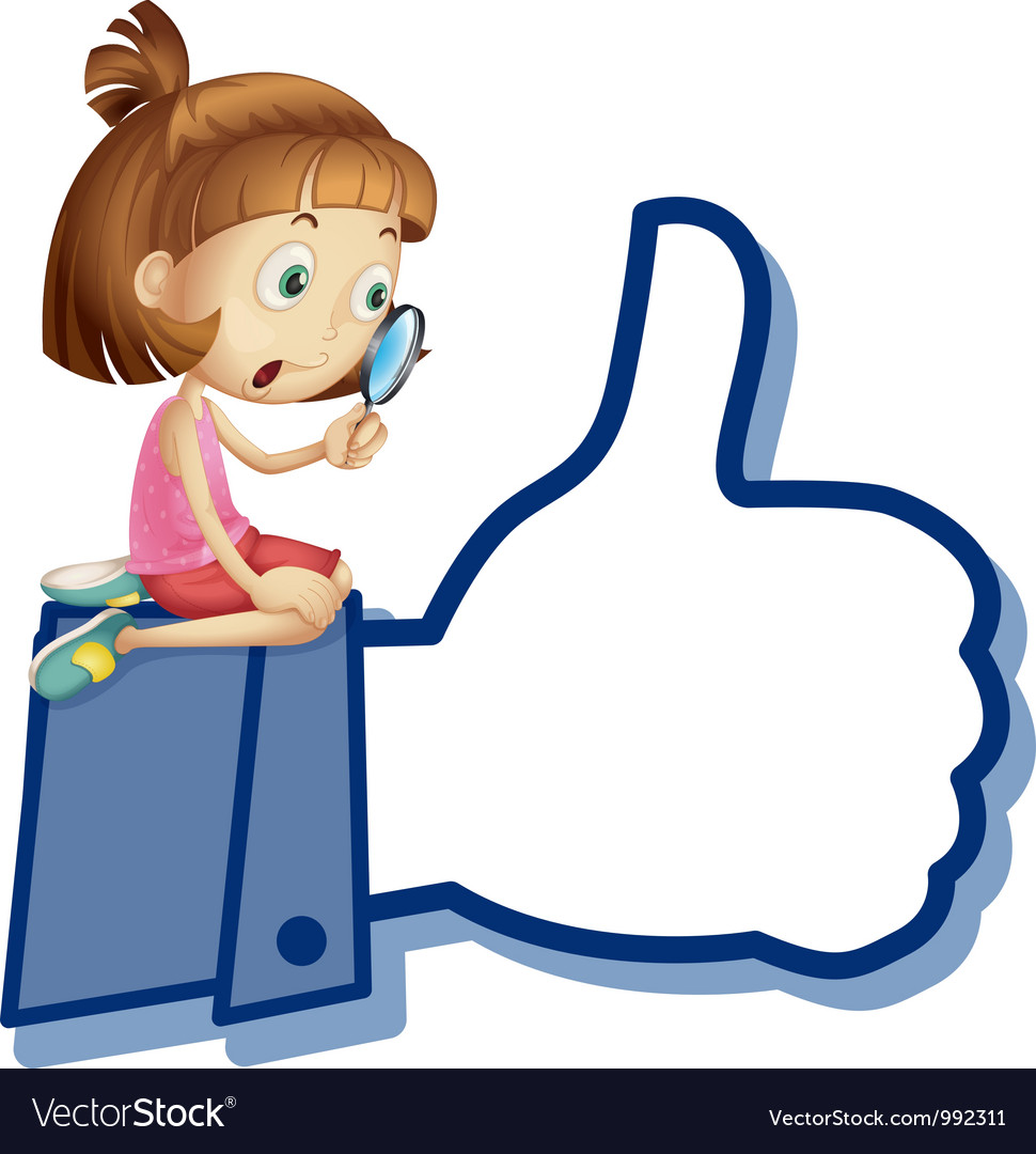 Cartoon girl like thumb vector