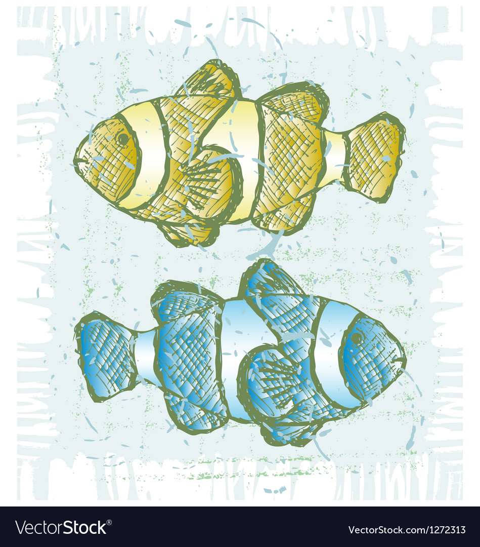 Tropical reef fish vector