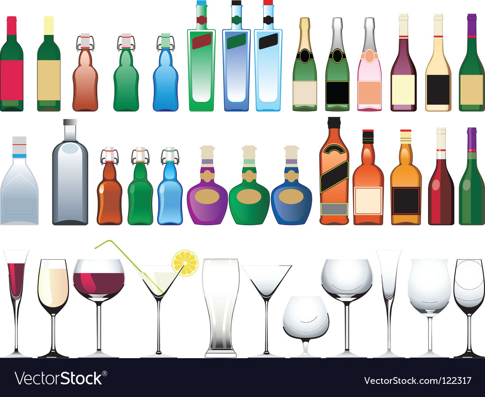 Bottle glasses vector