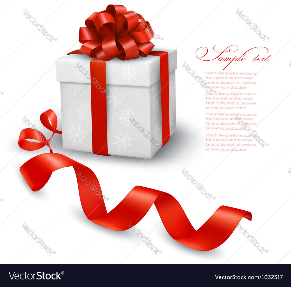 Red gift box with red ribbons vector