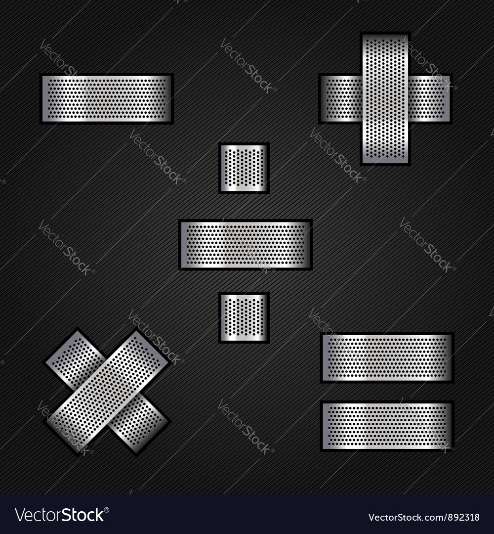 Letter metal chrome ribbon  mathematical signs vector