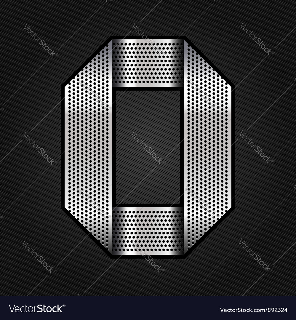 Number metal chrome ribbon  0  zero vector