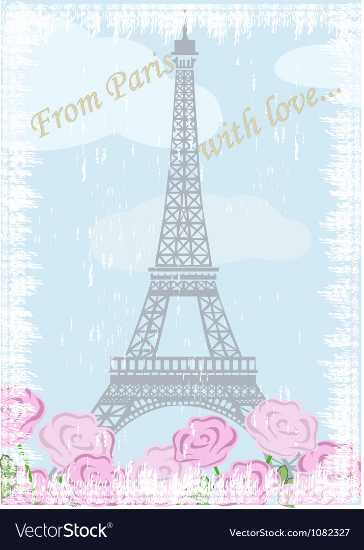 Grunge eiffel tower with roses vector