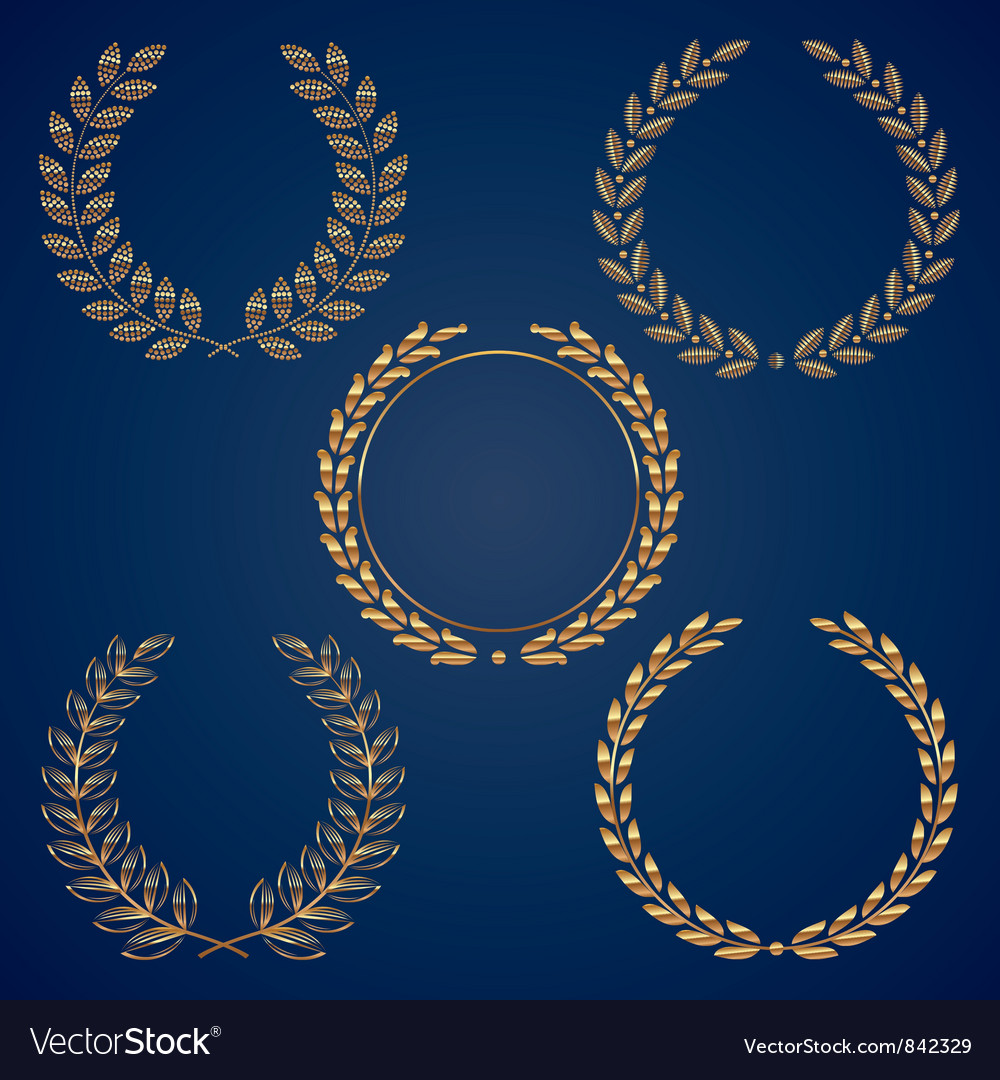 Set of golden laurel wreaths vector