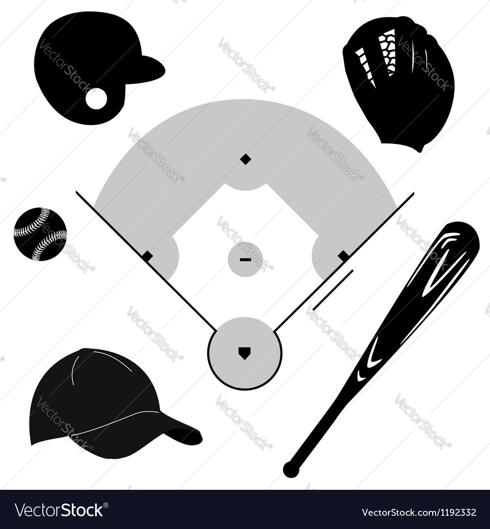 Baseball icons vector