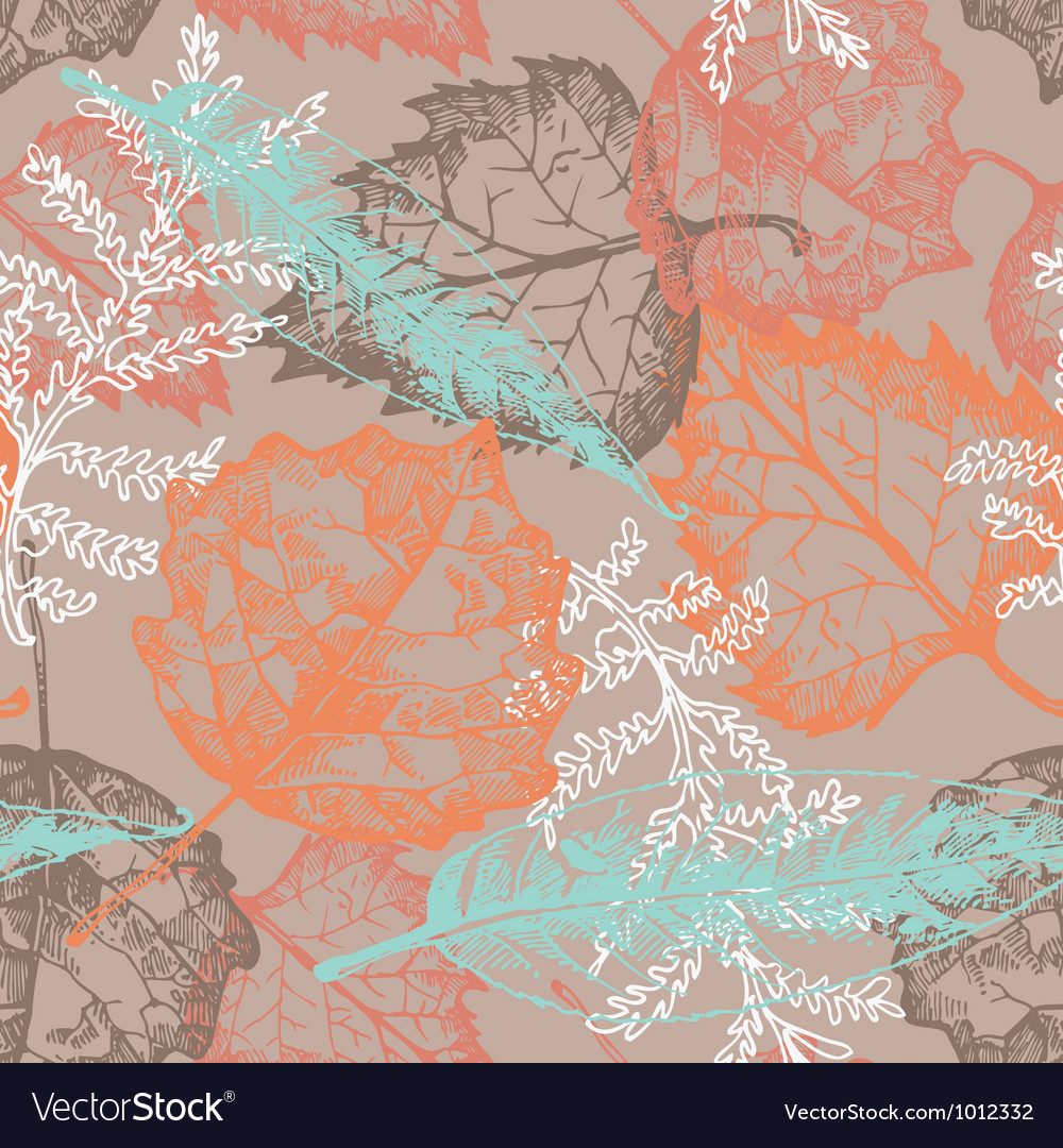 Seamless pattern with autumn leafs vector