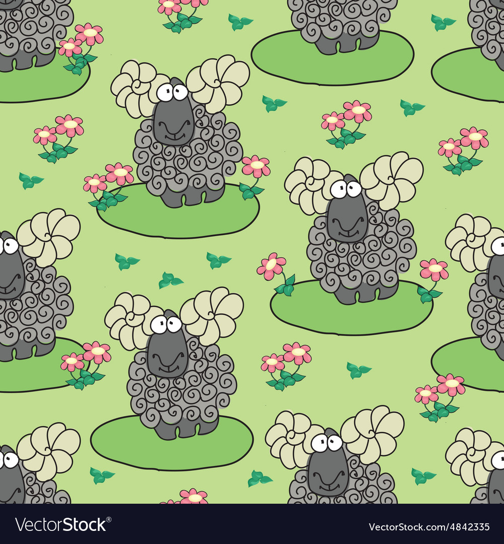 Pattern with sheep and flowers