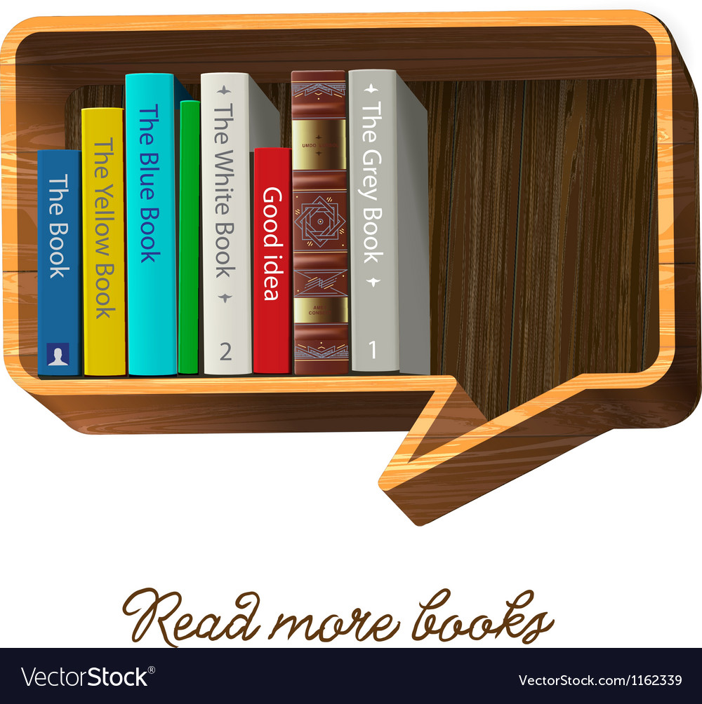 Bookshelf in the form of speech bubble vector