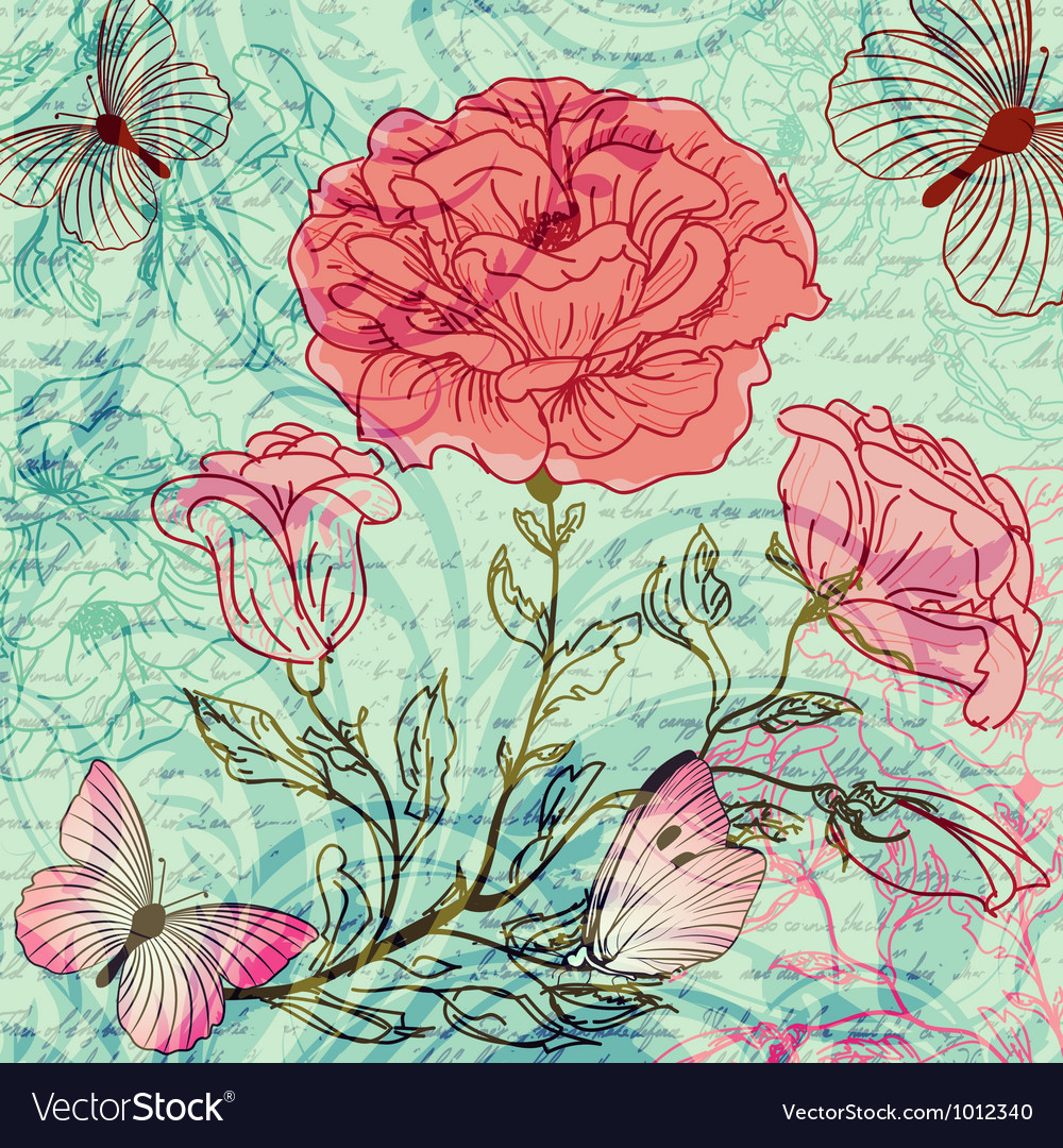 Grungy retro background with roses and butterflies vector