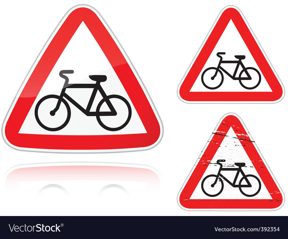 Bike road sign vector