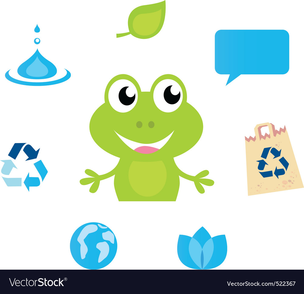 Cute green cartoon frog icon vector