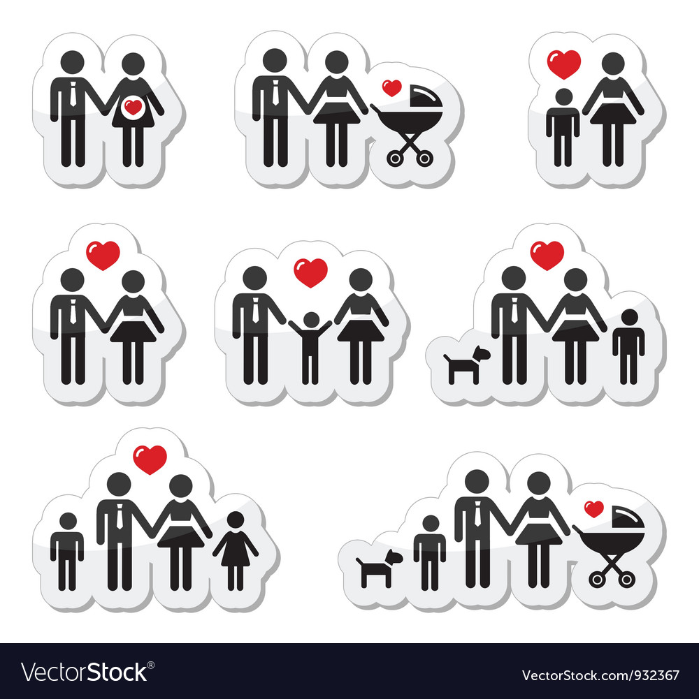 People icons  family baby pregnant woman coupl vector