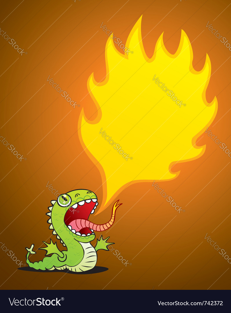 Dragon spewing flames vector