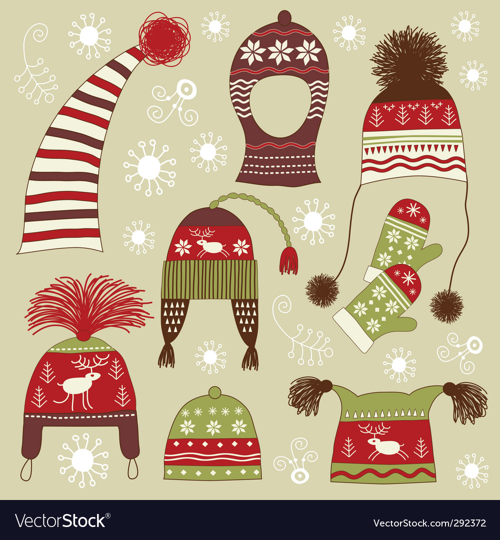 Nordic winter hats vector