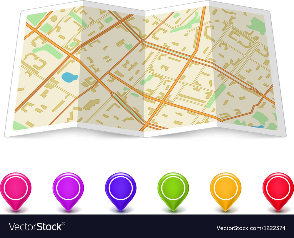 Map icon with pin pointers vector