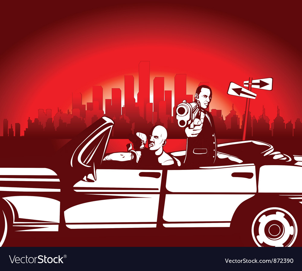 Urban background with gangsters vector