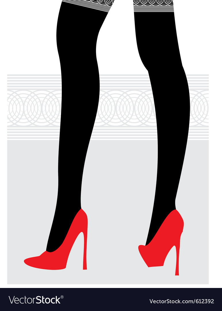 Female legs in black stockings and red shoes vector by ADVRT ...