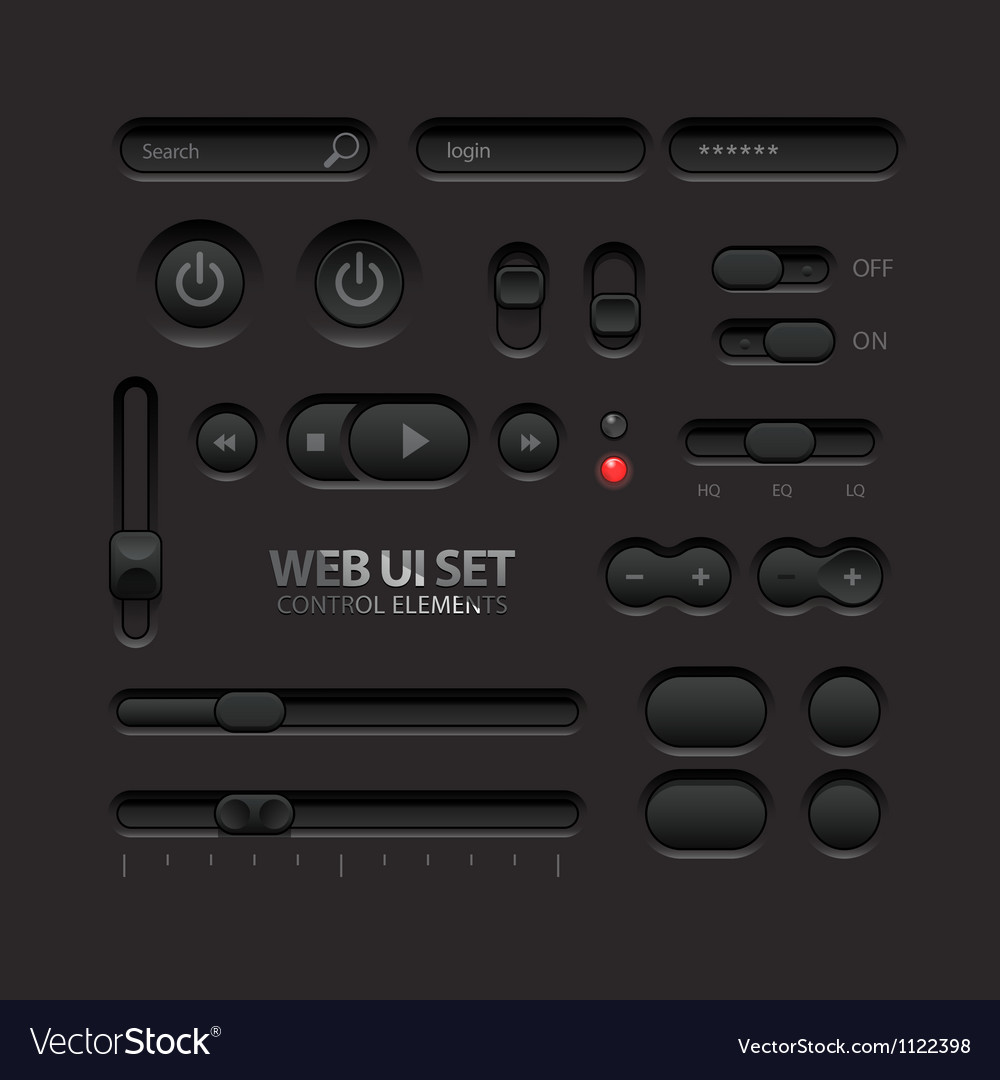 Dark web ui elements buttons switches bars vector