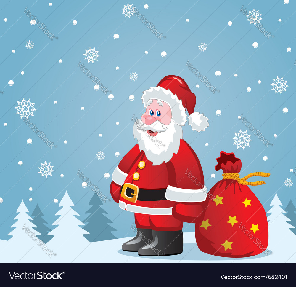 Santa claus with big sack vector