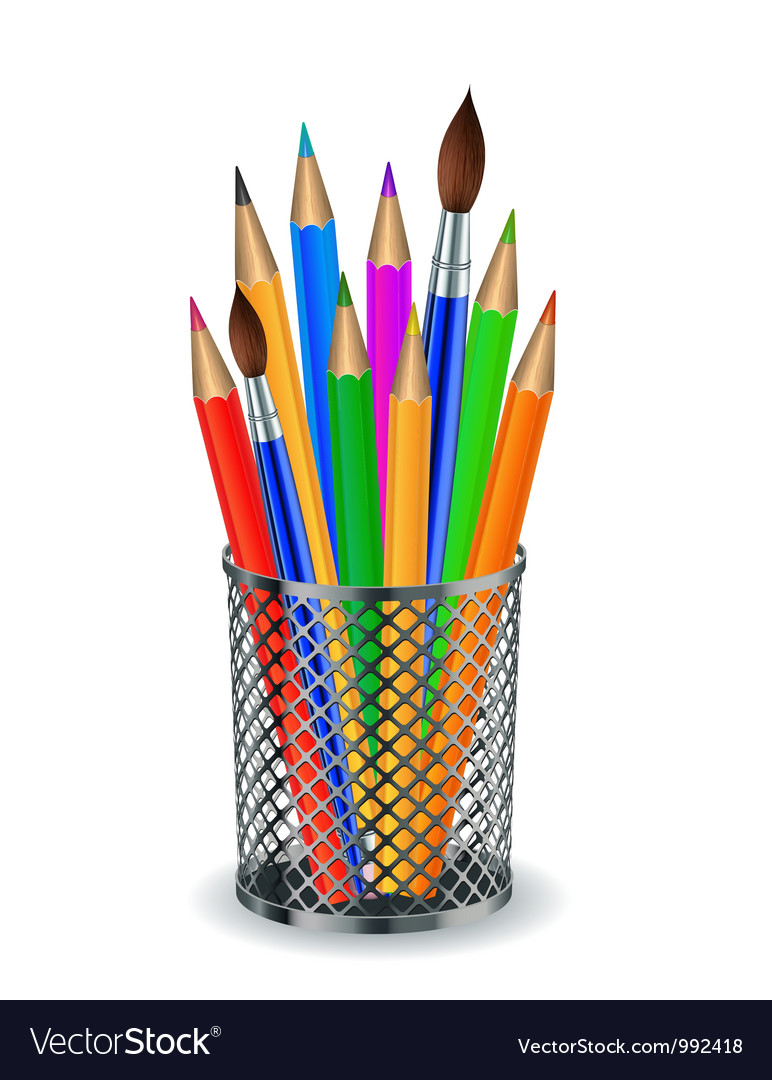 Colorful pencils and brushes in the holder vector