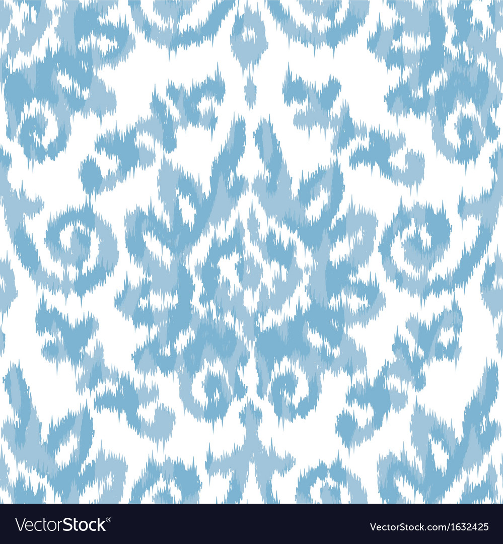Ikat damask blue vector