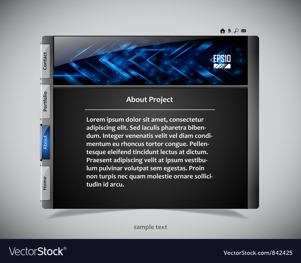 Website template in black and blue colors vector
