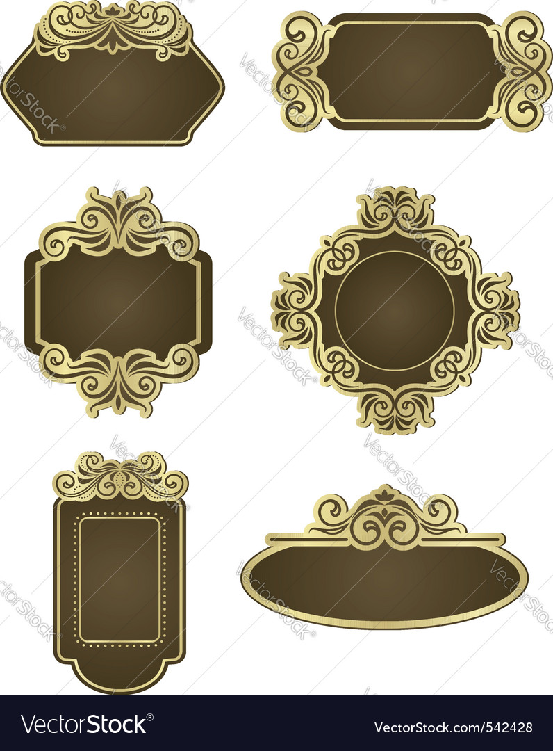 Retro wedding templates vector