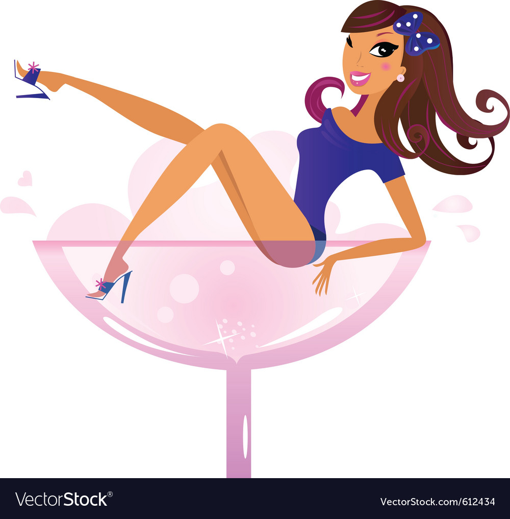 Woman in wine glass vector